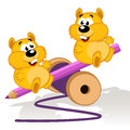 Hamsters on a swing vector illustration Royalty Free Stock Photo