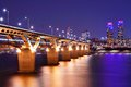 Han river in seoul and bridge south korea Royalty Free Stock Image