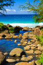 Hanakapiai stream flows into tropical ocean, Kauai Stock Photos