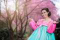 Hanbok the traditional korean dress and beautiful asian girl wi with sakura Stock Photo