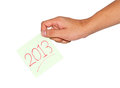Hand and 2013 Stock Images