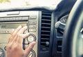 Hand adjust volume audio button Royalty Free Stock Photo