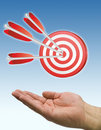 Hand and arrow target blue Stock Images