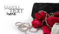 Hand bag with roses a lady easy removable sample text Stock Image