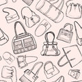 Hand bags fashion seamless sketch pattern. Royalty Free Stock Photo