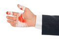 Hand with blood and bandage Royalty Free Stock Photo