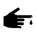 Hand blood drop symbol pictogram