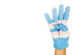 Hand in blue winter glove gesture number four against white back Royalty Free Stock Photo