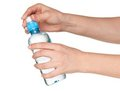 Hand with bottle of water Stock Photos