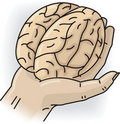 Hand with brain Stock Photo
