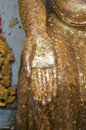 Hand of buddha show religion concept contain gold leaf Stock Photo