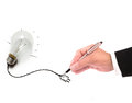 Hand of business man writing wire of light bulb use for multipurpose Royalty Free Stock Photos