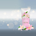 Hand Care Cream Bottle, Tube Template for Ads or Magazine Backgr