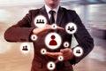 Ruka účetní podnikatel ikona síť,, týmová práce a