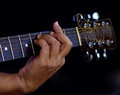 Hand catching guitar an example for the guitar chords fi provide finger press down on frets isolate background Royalty Free Stock Photos