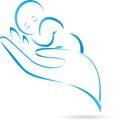 Hand, child, baby, logo
