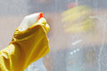 Hand with cleaner spray bottle Royalty Free Stock Photo