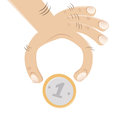 Hand and a coin illustration of Royalty Free Stock Photo