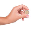 Hand coin isolated on white background Stock Photo