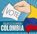 Hand with Tricolor Flag Promoting to Vote in Colombian Elections, Vector Illustration