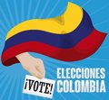 Hand Behind Waving Tricolor Flag and Vote for Colombian Elections, Vector Illustration