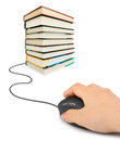 Hand with computer mouse and books Royalty Free Stock Photo