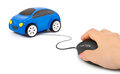 Hand with computer mouse and car Royalty Free Stock Photo