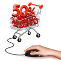 Hand with computer mouse and shopping cart Royalty Free Stock Images