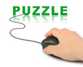 Hand with computer mouse and word puzzle internet concept Royalty Free Stock Image