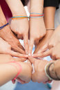Hand coordination used together the harmonization of teamwork in the workplace Royalty Free Stock Images