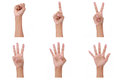 Hand count.woman hands show the number zero,one, two, three, four,five Royalty Free Stock Photo