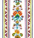 Hand crafted ethnic art of Eastern Europe - seamless frame with ornamental flowers and stripes. Watercolor Royalty Free Stock Photo
