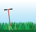 Hand cultivator on green lawn vector illustration Stock Photos
