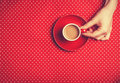 Hand and cup female holding of coffee Royalty Free Stock Images