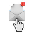 Hand cursor clicking E mail notification one new email message in the inbox