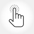 Hand cursor clicking a link touching finger Royalty Free Stock Photo