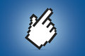 Hand cursor icon standing white pixeled computer mouse on blue background Royalty Free Stock Image