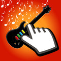 Hand cursor on rock guitar a with an music notes Royalty Free Stock Image