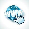 Hand cursor with www globe and text internet concept Royalty Free Stock Image