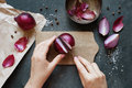 Hand cut red onion Royalty Free Stock Photo