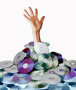 Hand and disks Royalty Free Stock Photography