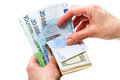 Hand with dollar and euro Royalty Free Stock Photo