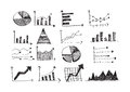 Hand doodle business graph charts an images of doodles Stock Photos
