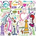 Hand draw Arrow set.Doodle vector Royalty Free Stock Photo