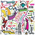 Hand draw Arrow set. Doodle vector Royalty Free Stock Photo