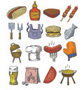 Hand draw barbecue vector icon set on white Royalty Free Stock Photos