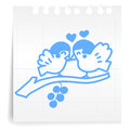 Hand draw bird love cartoon on paper note Stock Photography