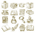 Hand draw books vector icons set on white Stock Images