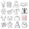Hand draw business vector icon set on white Royalty Free Stock Photography