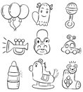 Hand draw cartoon baby product icon Stock Images